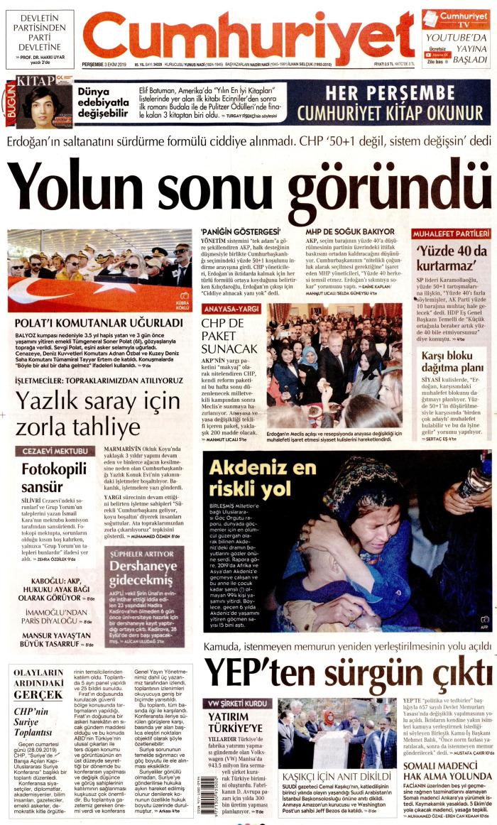 CUMHURİYET Gazetesi 3 Ekim 2019, Perşembe Günü Manşeti