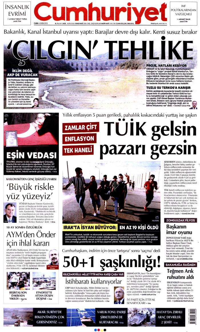 CUMHURİYET Gazetesi 4 Ekim 2019, Cuma Günü Manşeti