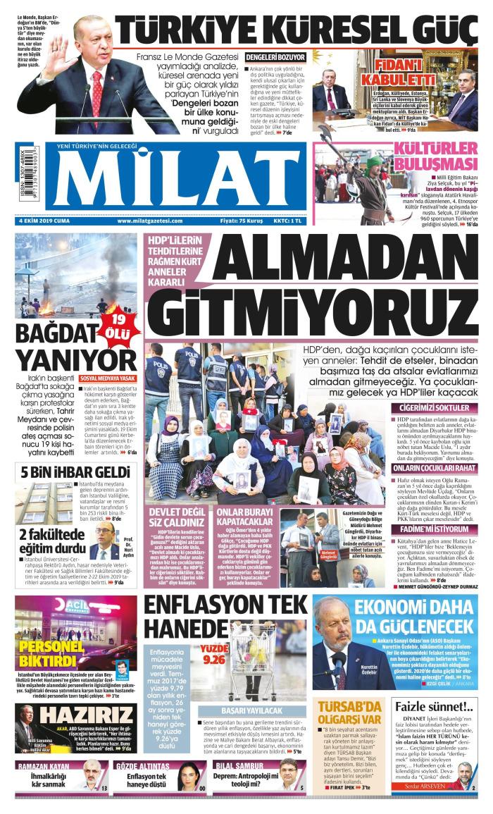 MİLAT Gazetesi 4 Ekim 2019, Cuma Günü Manşeti