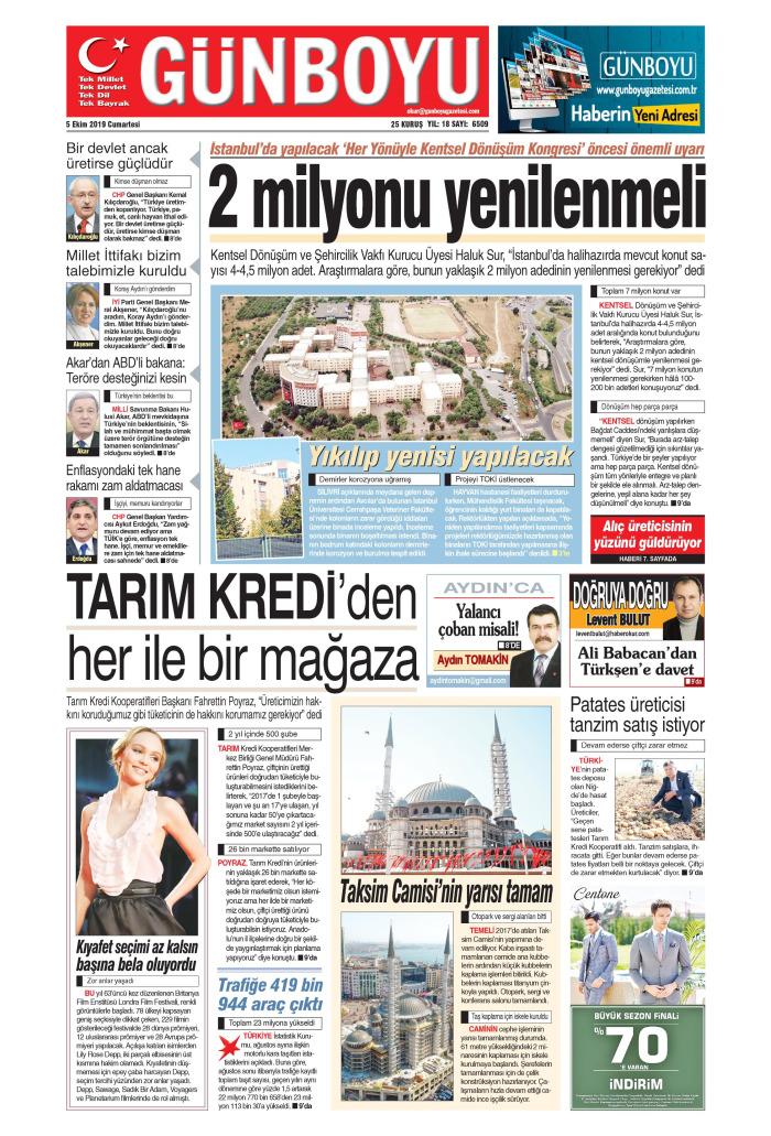 GÜNBOYU Gazetesi 5 Ekim 2019, Cumartesi Günü Manşeti