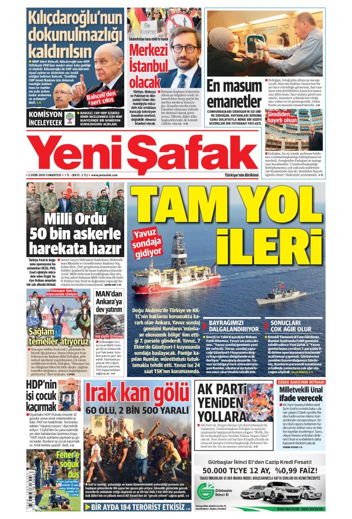 YENİ ŞAFAK Gazetesi 5 Ekim 2019, Cumartesi Günü Manşeti