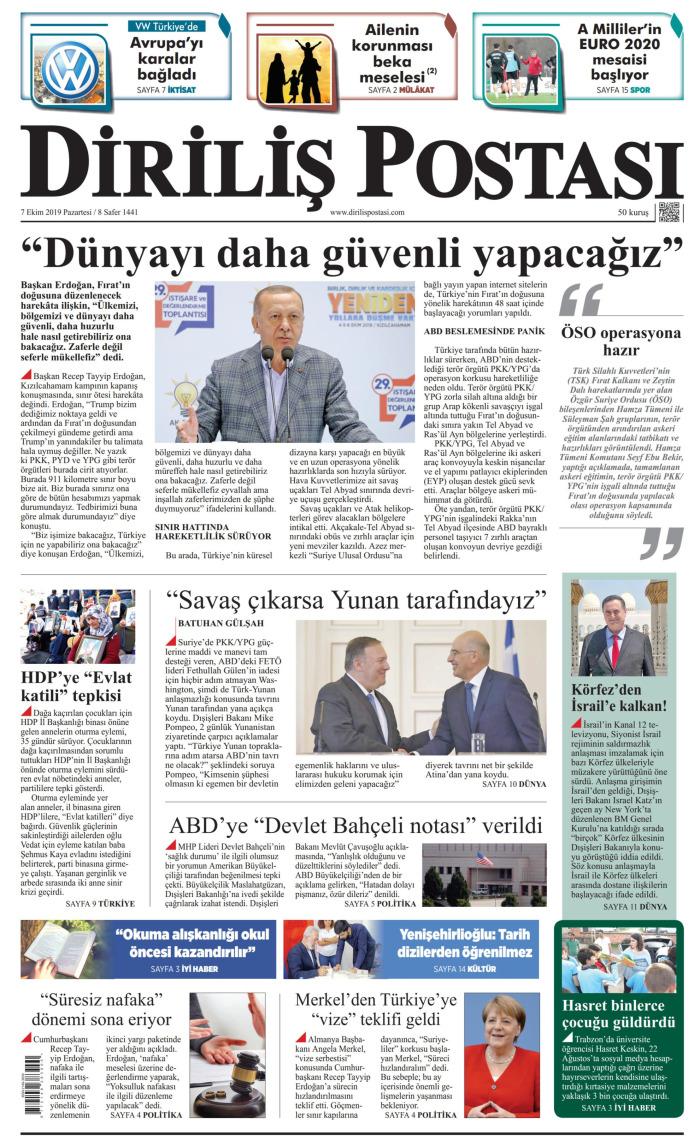 DİRİLİŞ POSTASI Gazetesi 7 Ekim 2019, Pazartesi Günü Manşeti