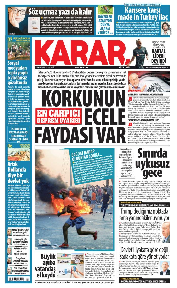 KARAR Gazetesi 7 Ekim 2019, Pazartesi Günü Manşeti
