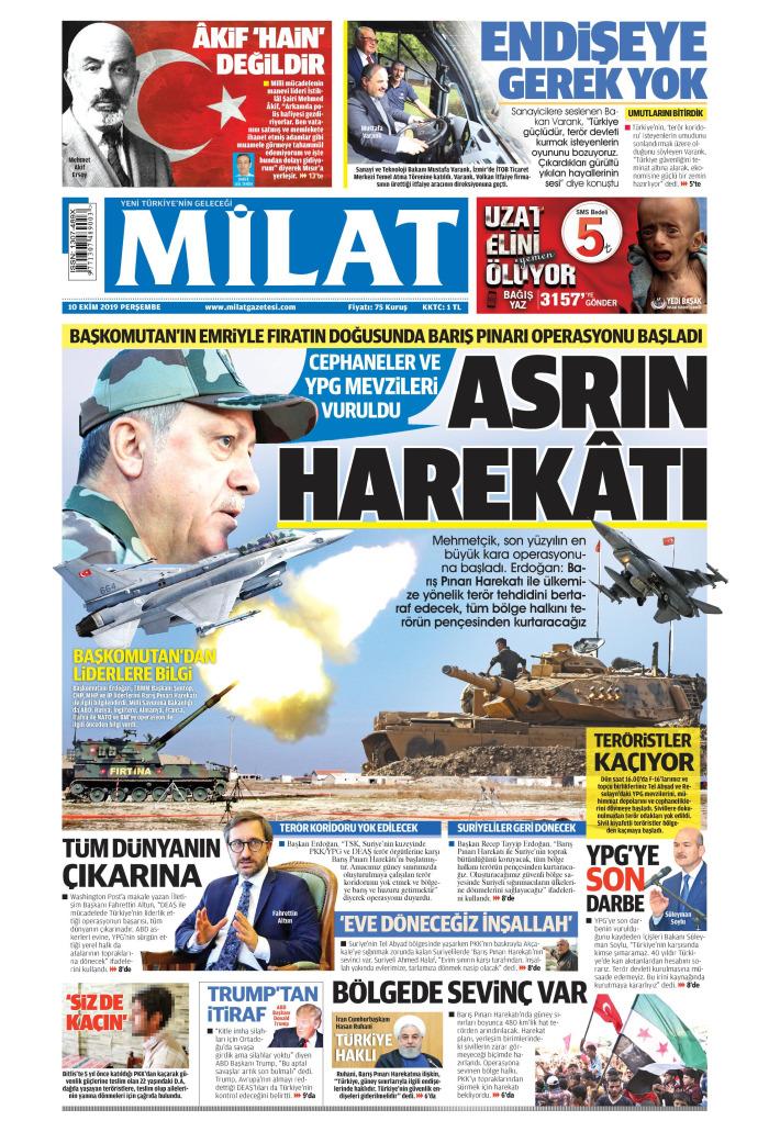MİLAT Gazetesi 10 Ekim 2019, Perşembe Günü Manşeti