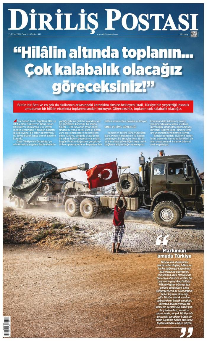 DİRİLİŞ POSTASI Gazetesi 13 Ekim 2019, Pazar Günü Manşeti