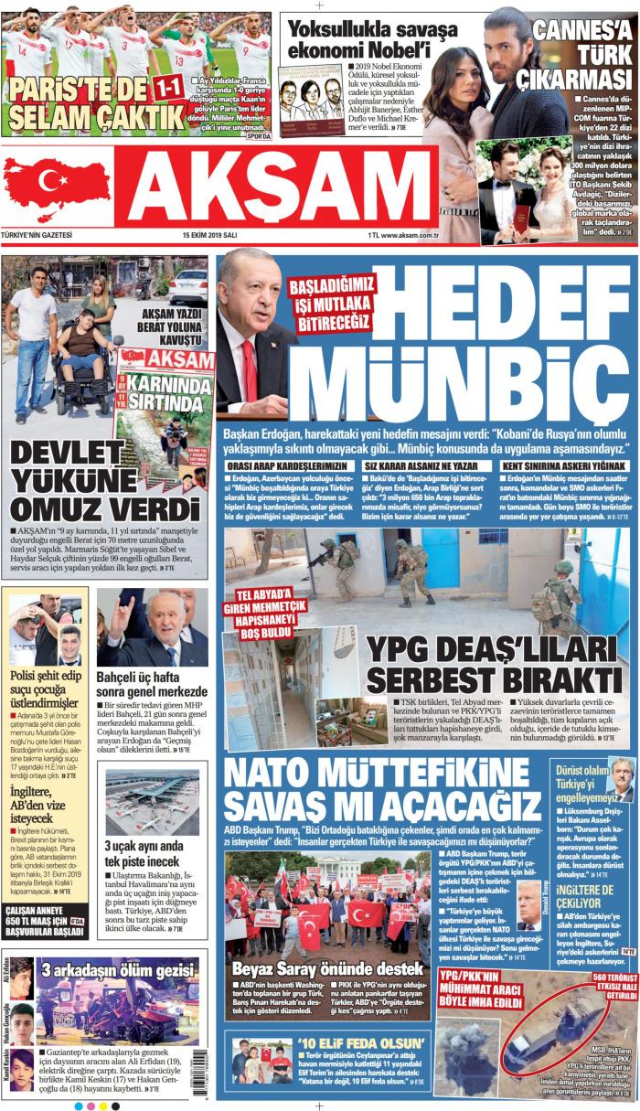 AKŞAM Gazetesi 15 Ekim 2019, Salı Günü Manşeti