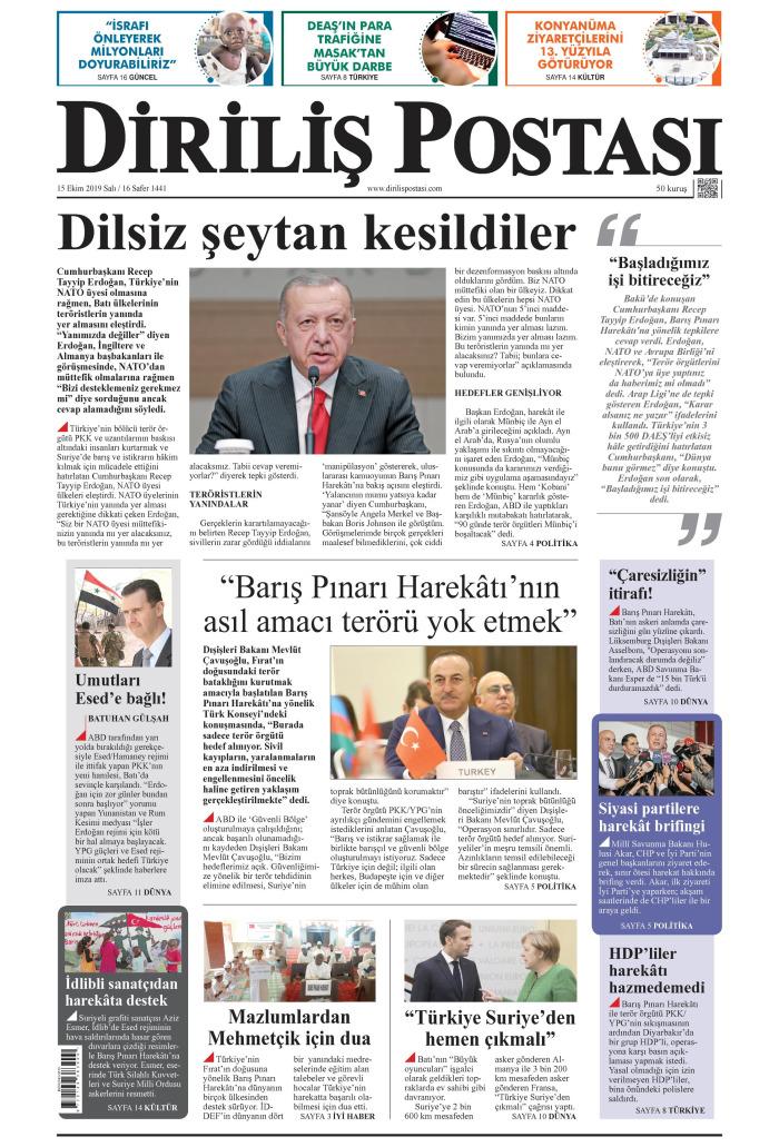 DİRİLİŞ POSTASI Gazetesi 15 Ekim 2019, Salı Günü Manşeti