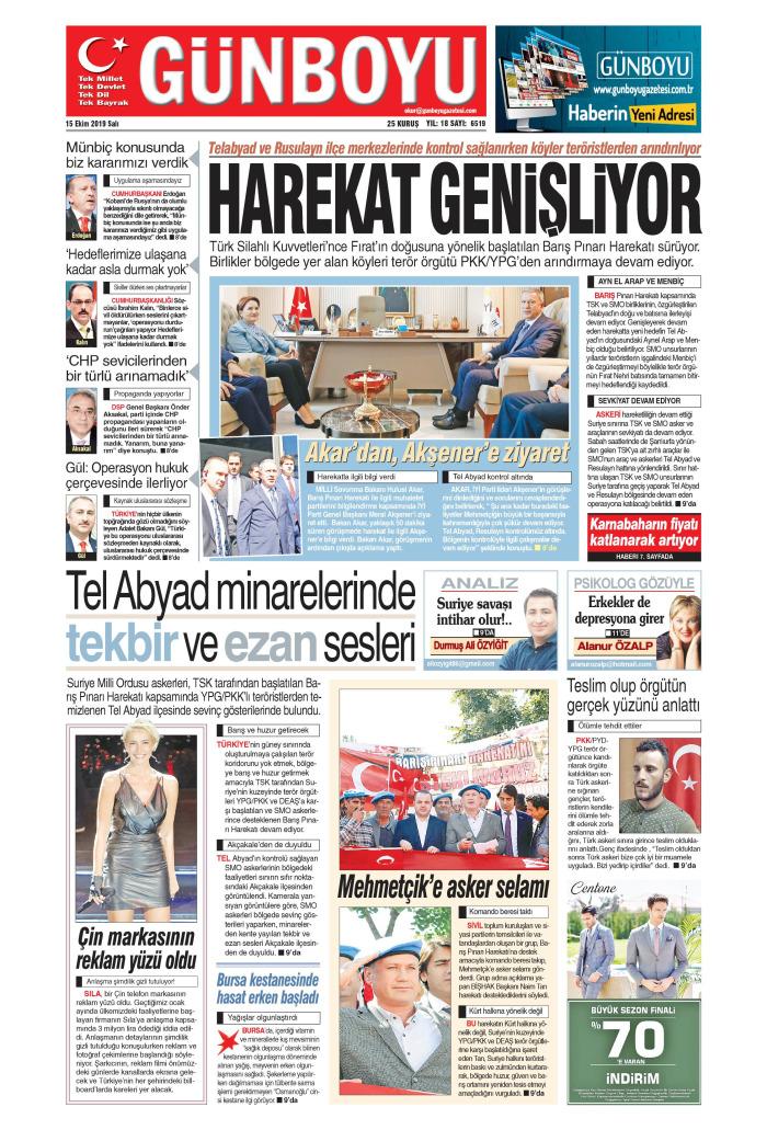 GÜNBOYU Gazetesi 15 Ekim 2019, Salı Günü Manşeti