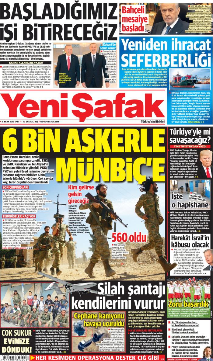 YENİ ŞAFAK Gazetesi 15 Ekim 2019, Salı Günü Manşeti
