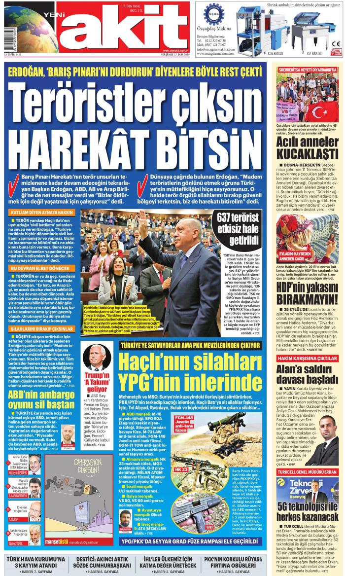 YENİ AKİT Gazetesi 17 Ekim 2019, Perşembe Günü Manşeti