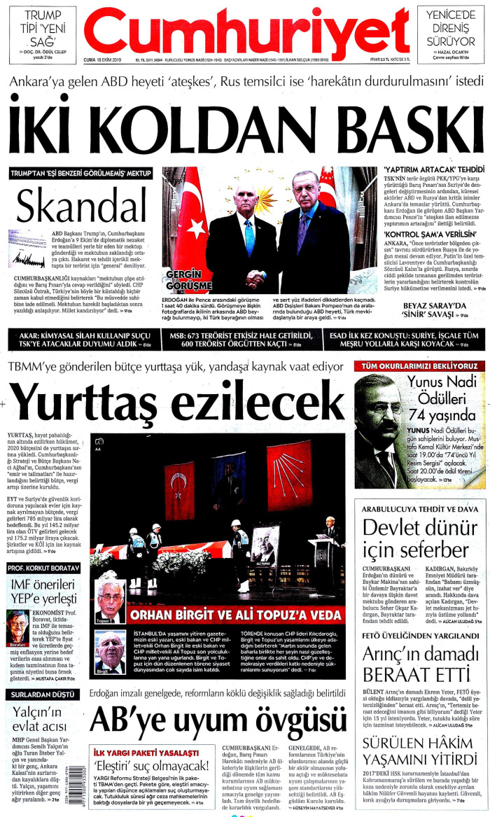 CUMHURİYET Gazetesi 18 Ekim 2019, Cuma Günü Manşeti