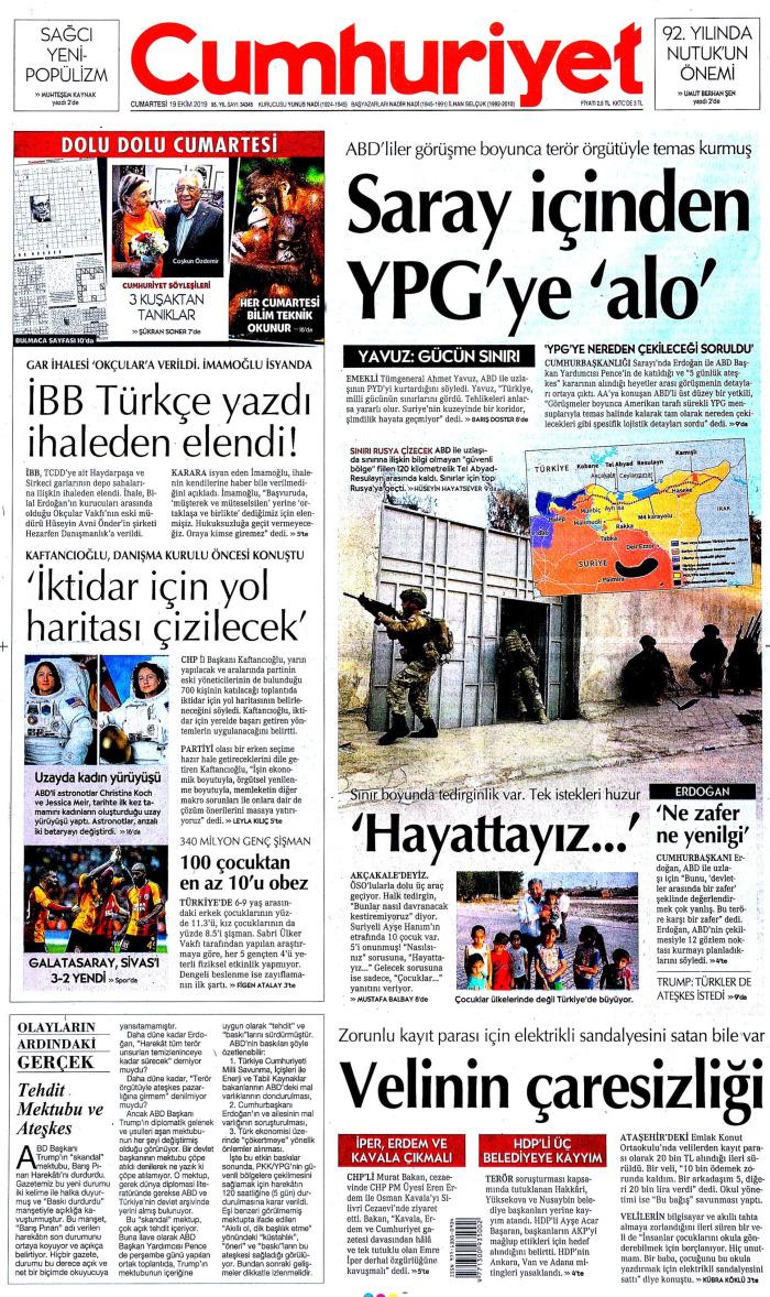 CUMHURİYET Gazetesi 19 Ekim 2019, Cumartesi Günü Manşeti