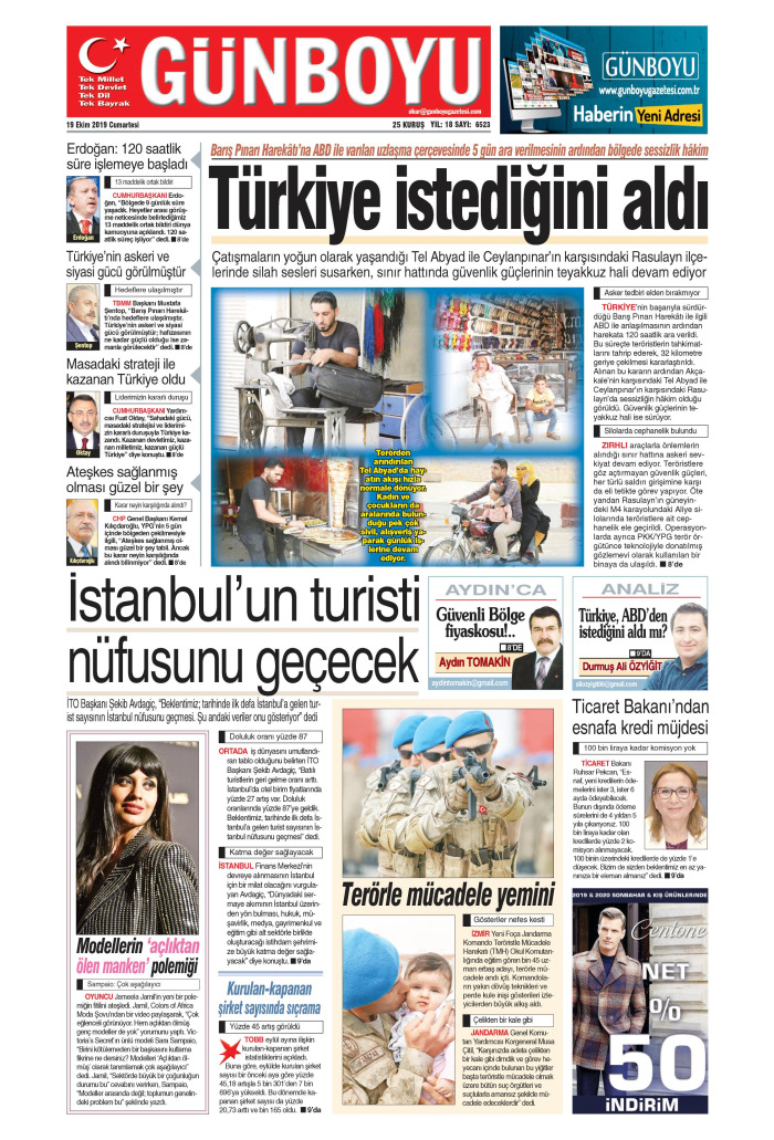 GÜNBOYU Gazetesi 19 Ekim 2019, Cumartesi Günü Manşeti