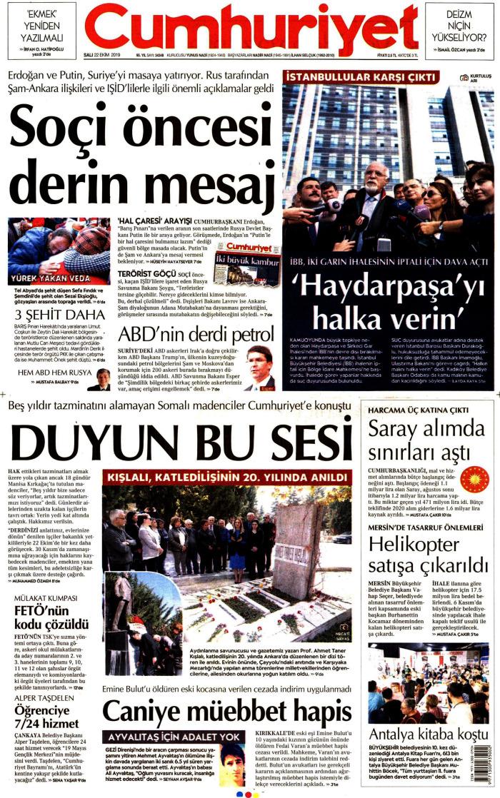 CUMHURİYET Gazetesi 22 Ekim 2019, Salı Günü Manşeti