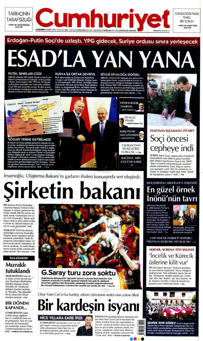CUMHURİYET Gazetesi 23 Ekim 2019, Çarşamba Günü Manşeti