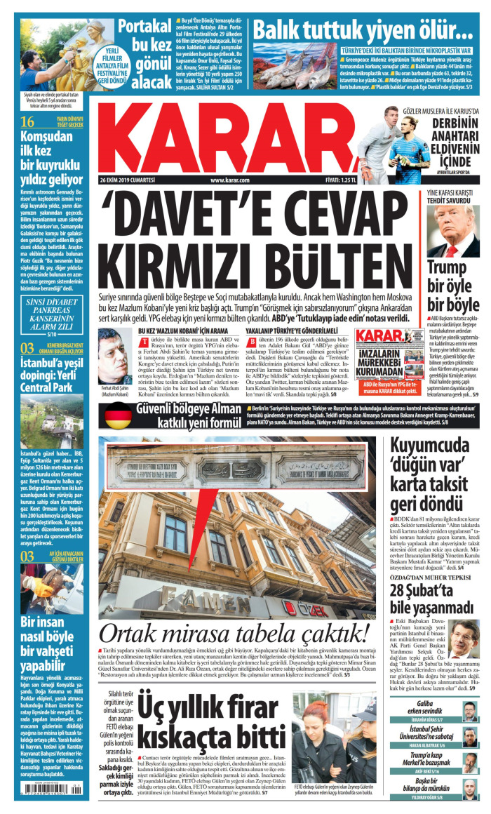 KARAR Gazetesi 26 Ekim 2019, Cumartesi Günü Manşeti