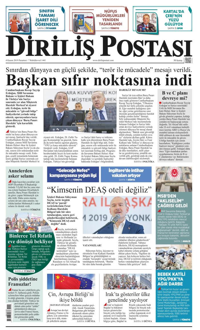 DİRİLİŞ POSTASI Gazetesi 4 Kasım 2019, Pazartesi Günü Manşeti