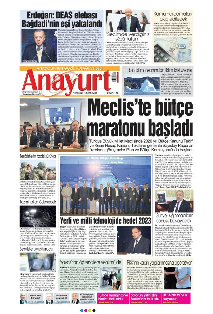 ANAYURT Gazetesi 7 Kasım 2019, Perşembe Günü Manşeti