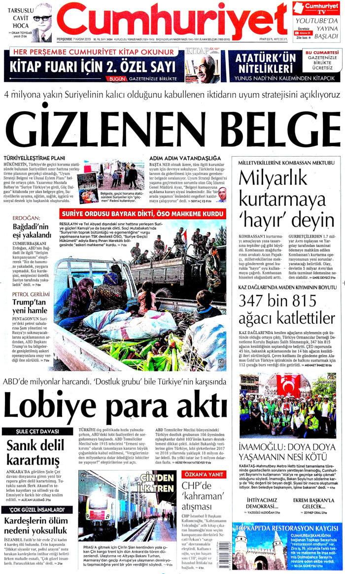 CUMHURİYET Gazetesi 7 Kasım 2019, Perşembe Günü Manşeti