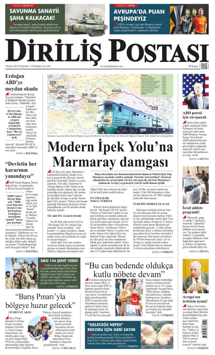 DİRİLİŞ POSTASI Gazetesi 7 Kasım 2019, Perşembe Günü Manşeti