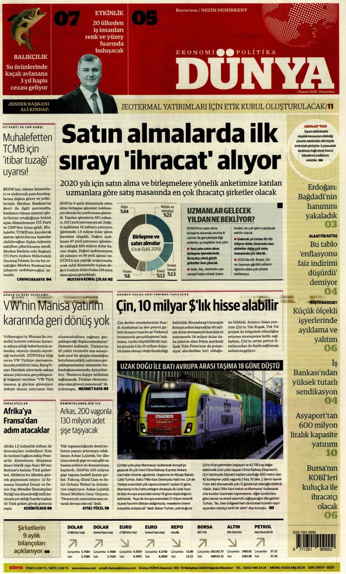 DÜNYA Gazetesi 7 Kasım 2019, Perşembe Günü Manşeti