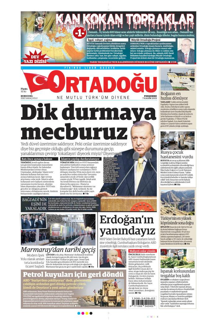 ORTADOĞU Gazetesi 7 Kasım 2019, Perşembe Günü Manşeti