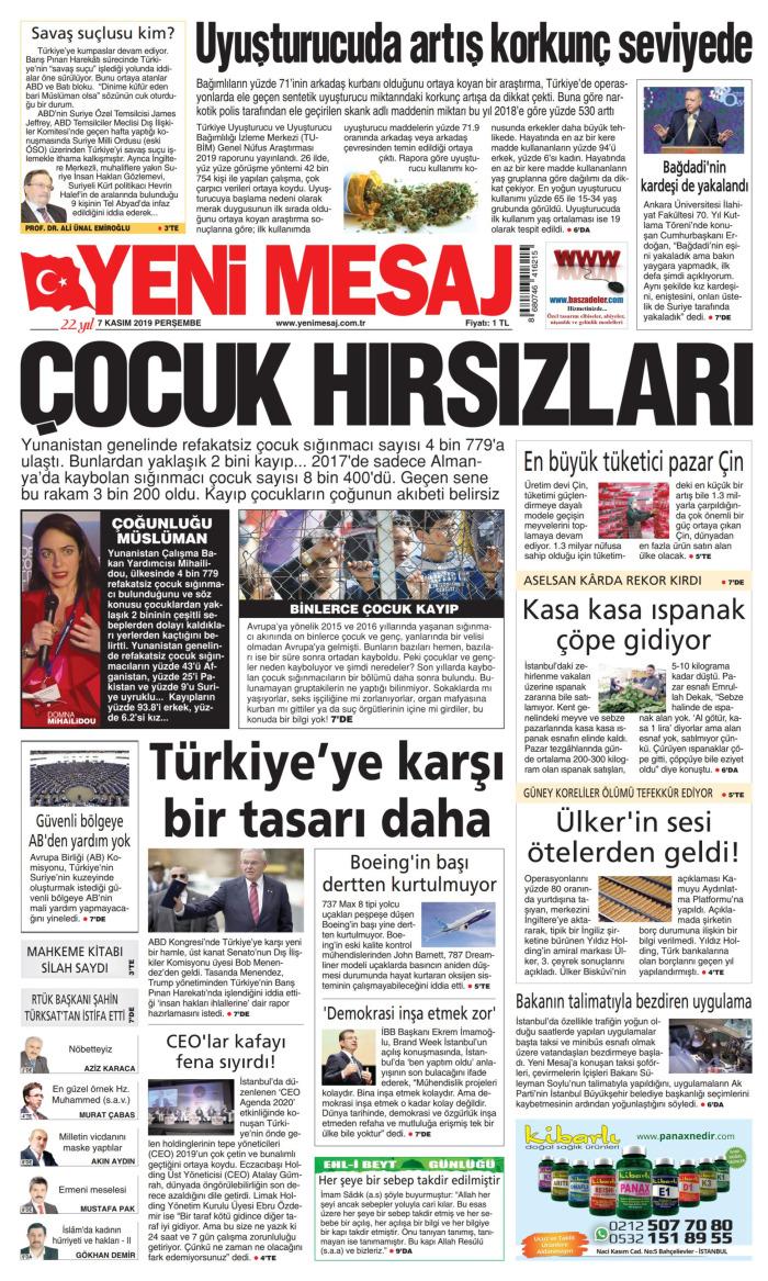 YENİ MESAJ Gazetesi 7 Kasım 2019, Perşembe Günü Manşeti