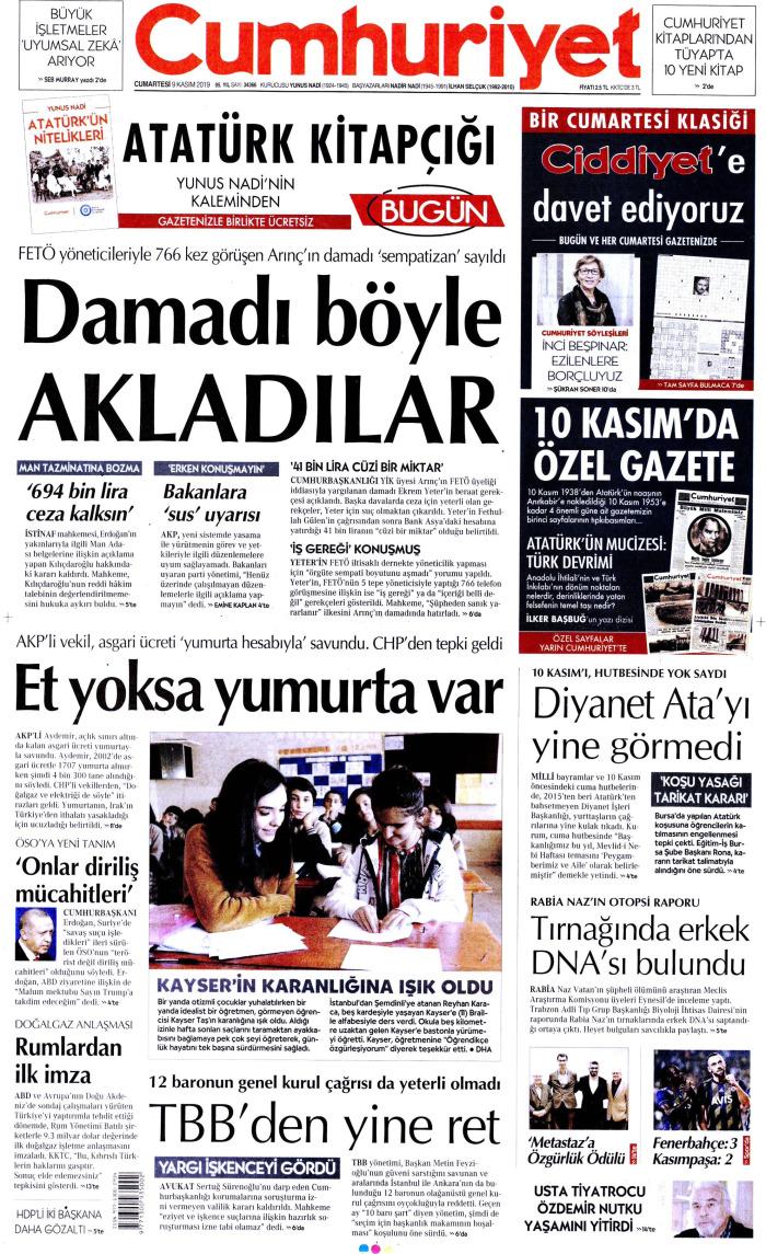 CUMHURİYET Gazetesi 9 Kasım 2019, Cumartesi Günü Manşeti