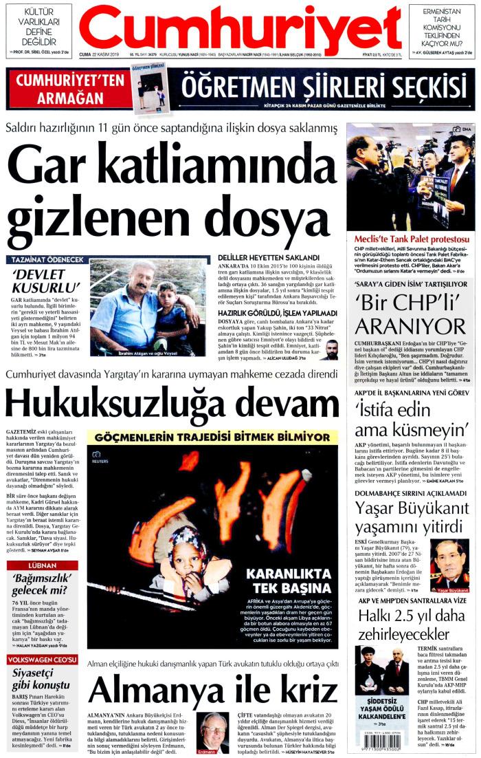 CUMHURİYET Gazetesi 22 Kasım 2019, Cuma Günü Manşeti
