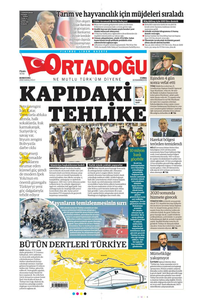 ORTADOĞU Gazetesi 22 Kasım 2019, Cuma Günü Manşeti