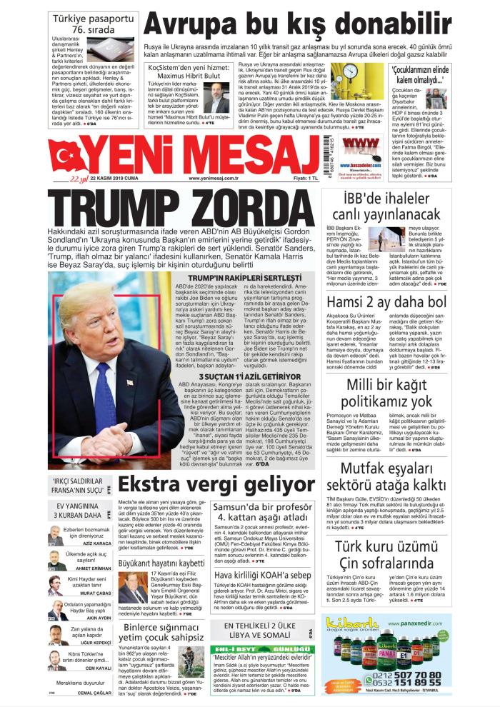 YENİ MESAJ Gazetesi 22 Kasım 2019, Cuma Günü Manşeti
