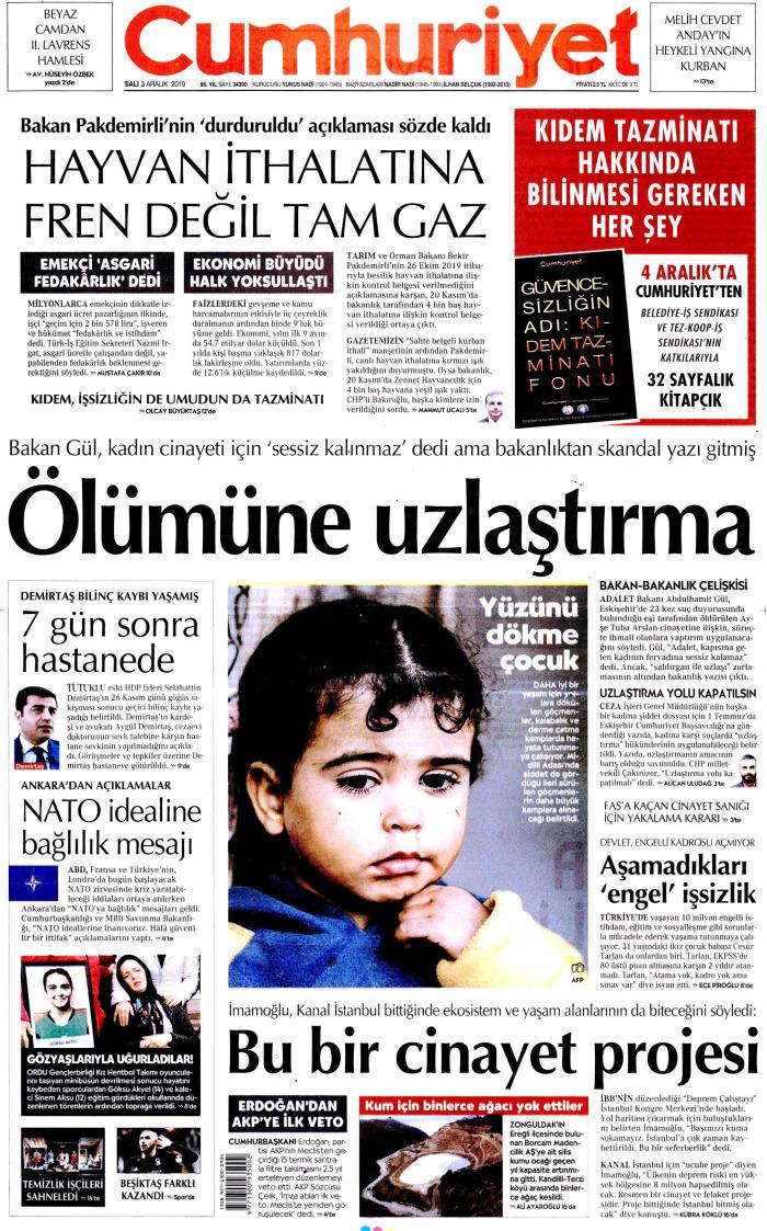 CUMHURİYET Gazetesi 3 Aralık 2019, Salı Günü Manşeti