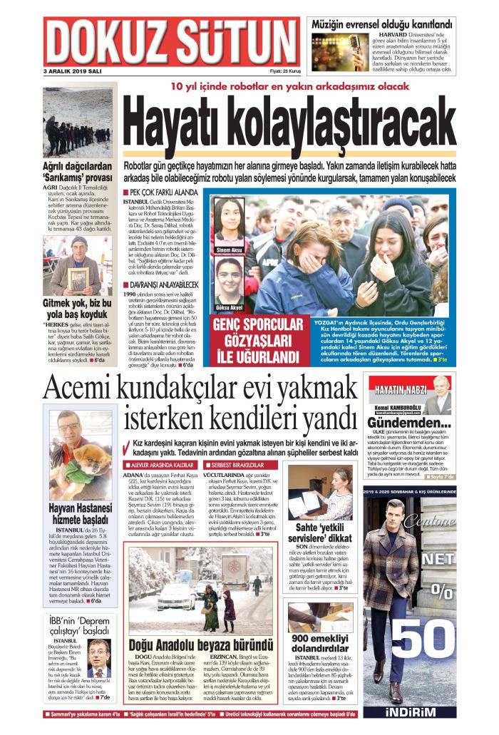 DOKUZ SÜTUN Gazetesi 3 Aralık 2019, Salı Günü Manşeti