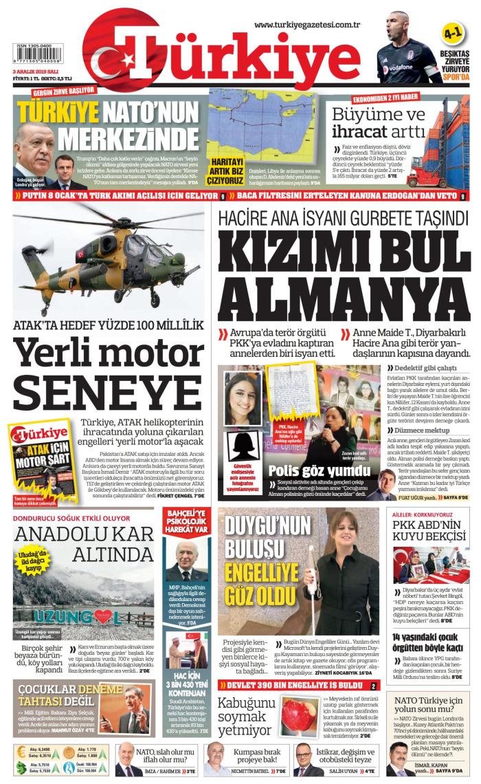 TÜRKİYE Gazetesi 3 Aralık 2019, Salı Günü Manşeti