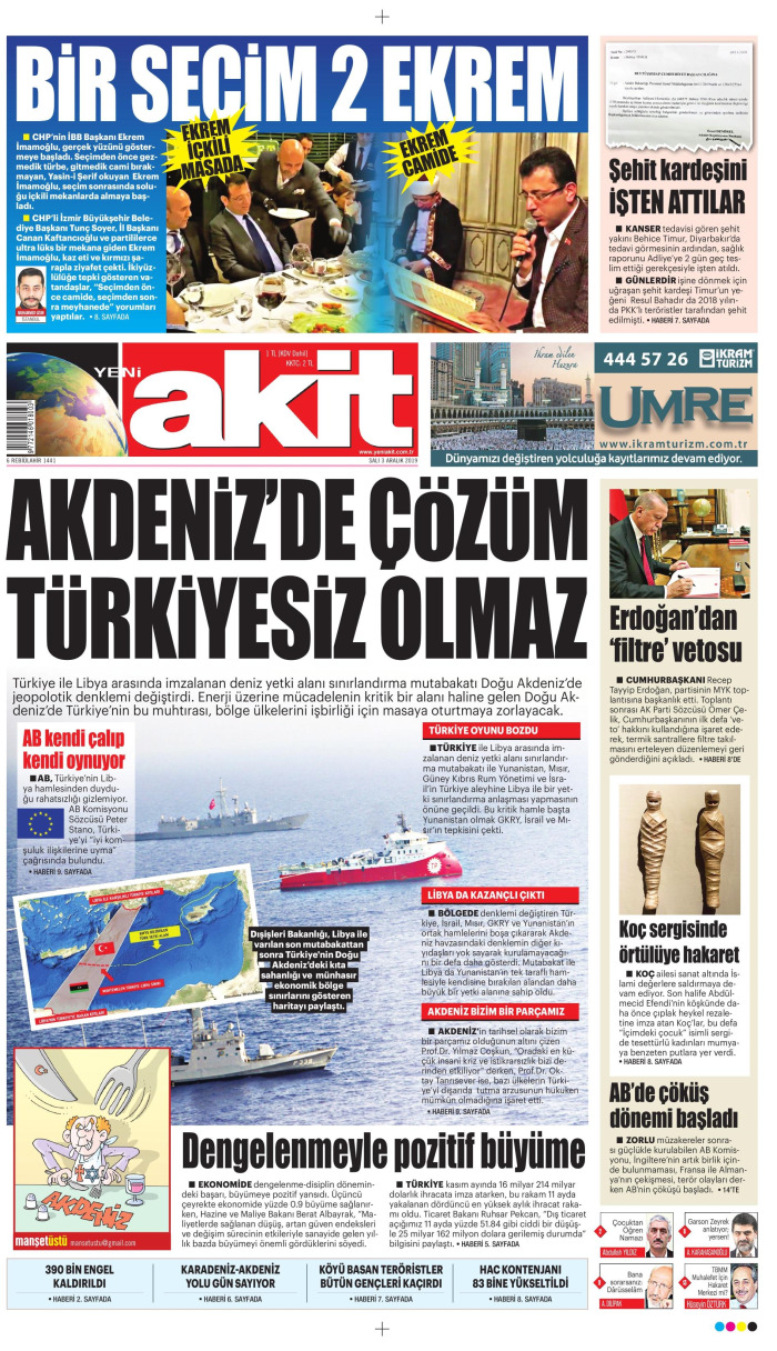 YENİ AKİT Gazetesi 3 Aralık 2019, Salı Günü Manşeti