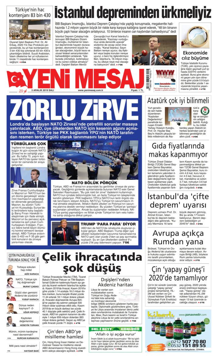 YENİ MESAJ Gazetesi 3 Aralık 2019, Salı Günü Manşeti