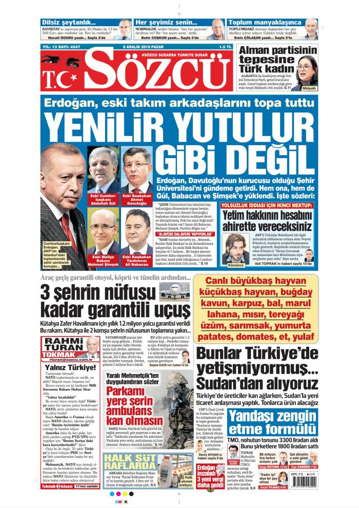 SÖZCÜ Gazetesi 8 Aralık 2019, Pazar Günü Manşeti