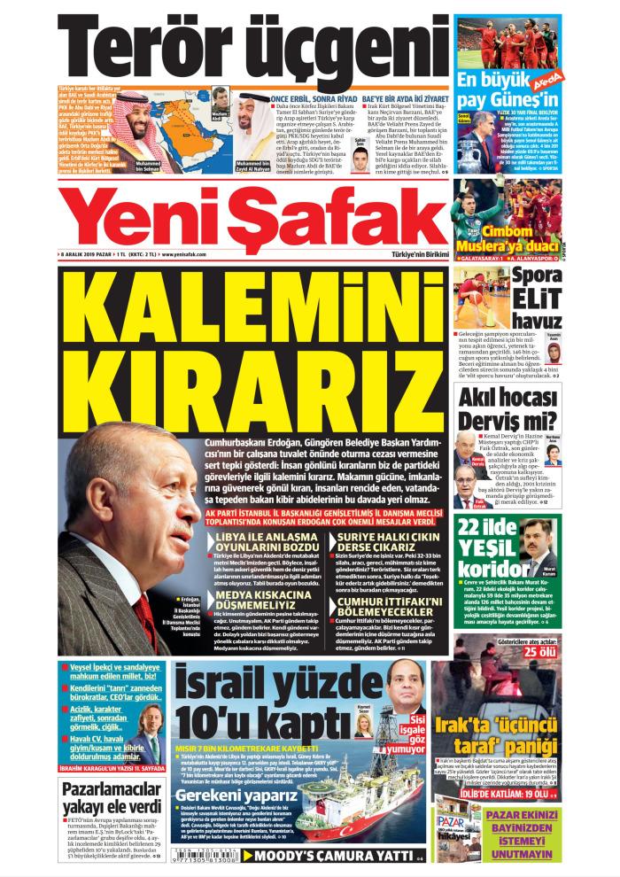 YENİ ŞAFAK Gazetesi 8 Aralık 2019, Pazar Günü Manşeti