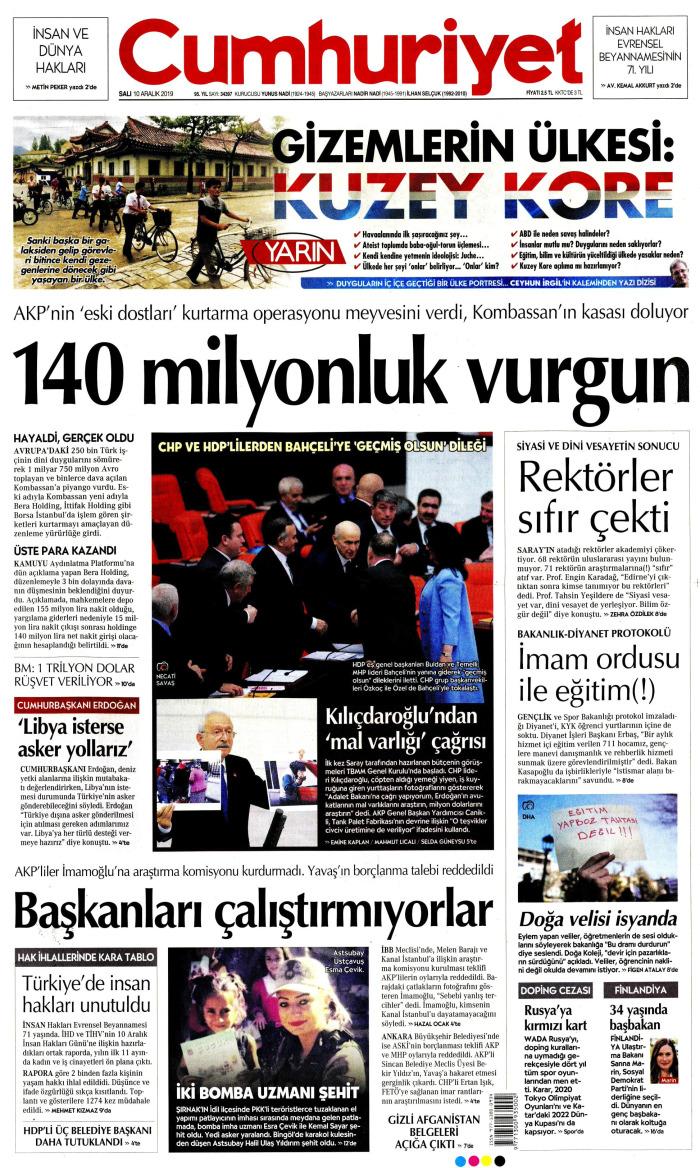 CUMHURİYET Gazetesi 10 Aralık 2019, Salı Günü Manşeti