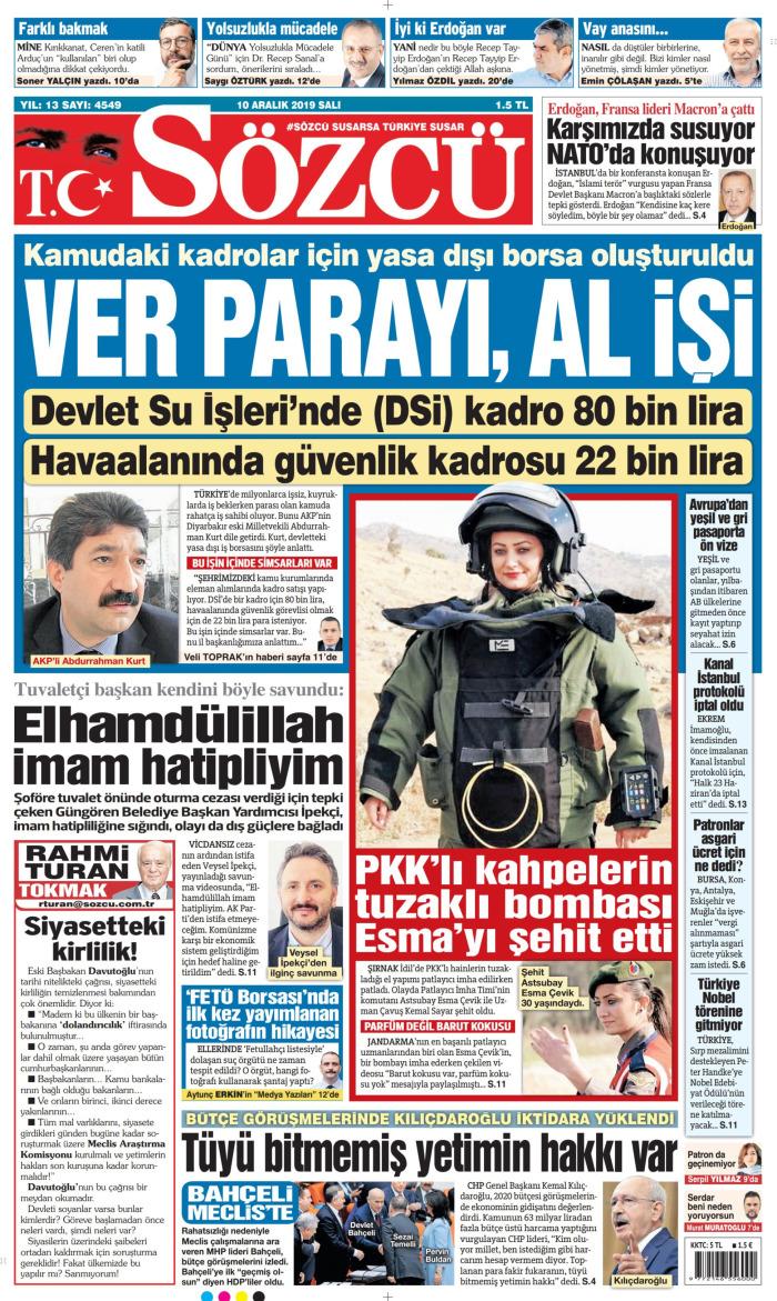 SÖZCÜ Gazetesi 10 Aralık 2019, Salı Günü Manşeti