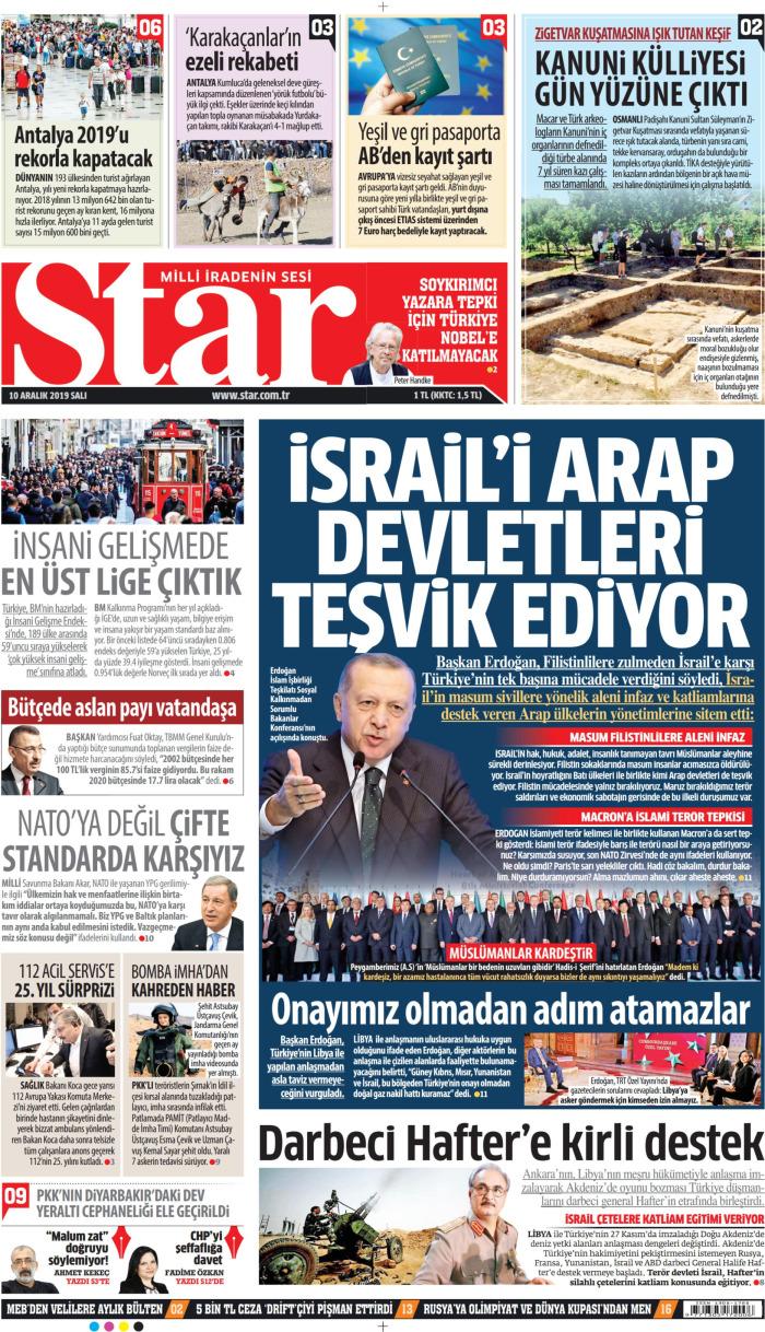 STAR Gazetesi 10 Aralık 2019, Salı Günü Manşeti