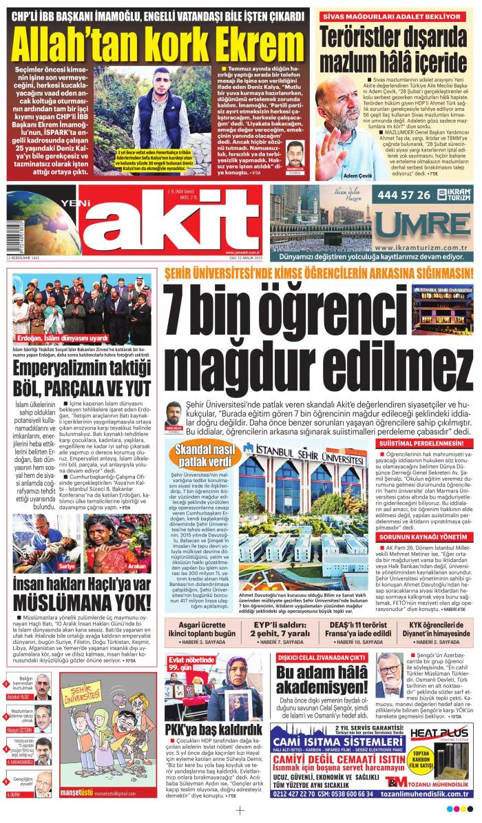 YENİ AKİT Gazetesi 10 Aralık 2019, Salı Günü Manşeti