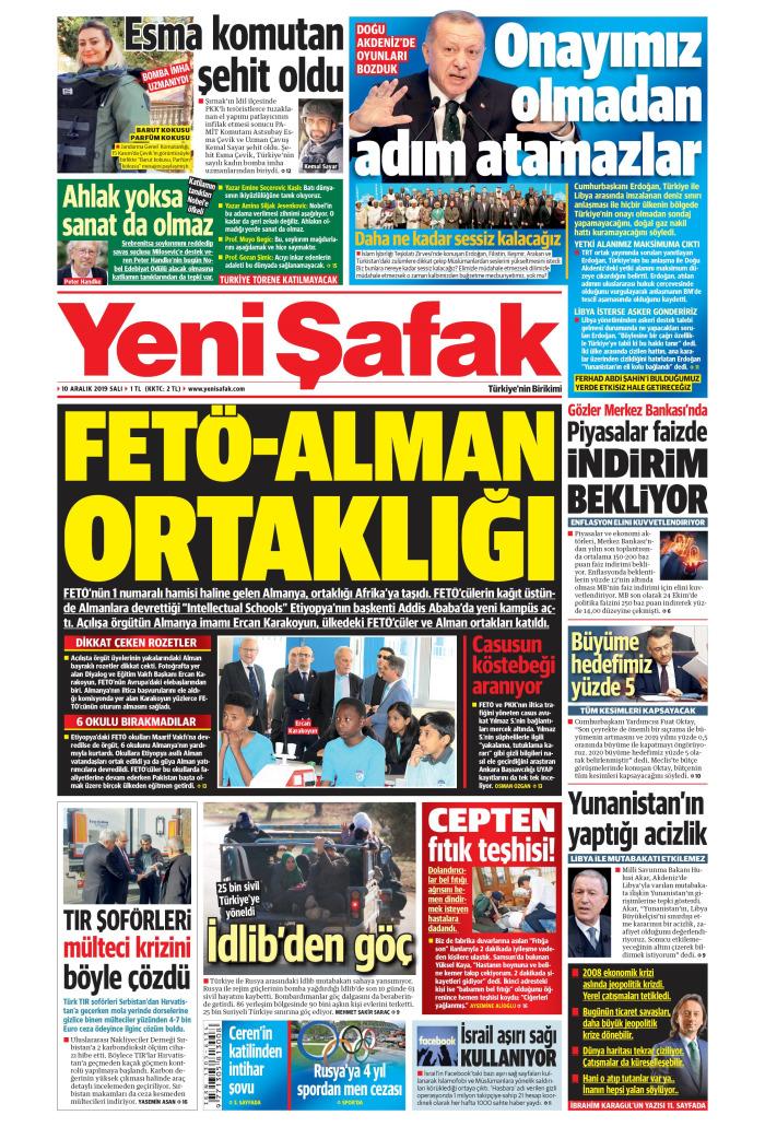 YENİ ŞAFAK Gazetesi 10 Aralık 2019, Salı Günü Manşeti