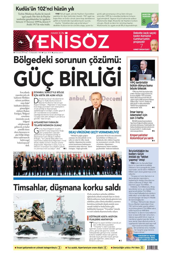 YENİ SÖZ Gazetesi 10 Aralık 2019, Salı Günü Manşeti