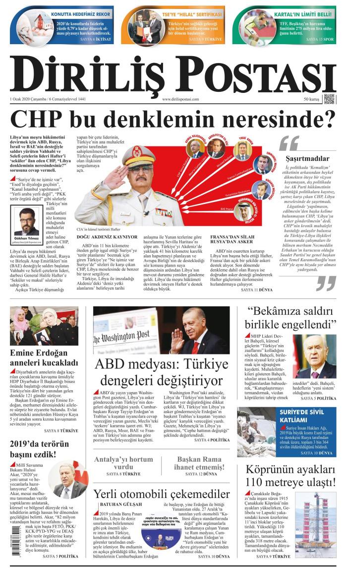 DİRİLİŞ POSTASI Gazetesi 1 Ocak 2020, Çarşamba Günü Manşeti