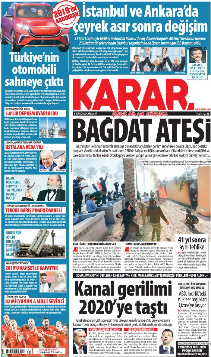KARAR Gazetesi 1 Ocak 2020, Çarşamba Günü Manşeti