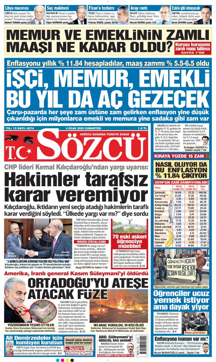 SÖZCÜ Gazetesi 4 Ocak 2020, Cumartesi Günü Manşeti