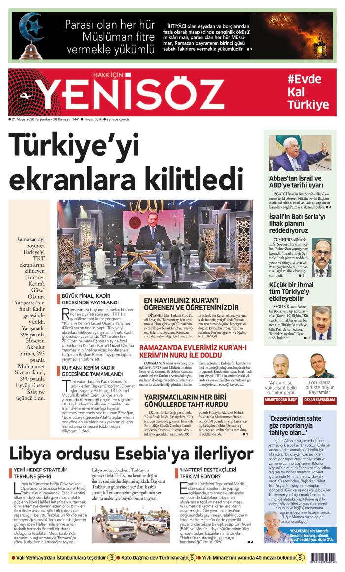 YENİ SÖZ Gazetesi 21 Mayıs 2020, Perşembe Günü Manşeti
