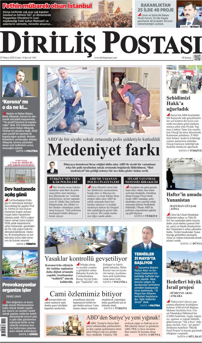 DİRİLİŞ POSTASI Gazetesi 29 Mayıs 2020, Cuma Günü Manşeti