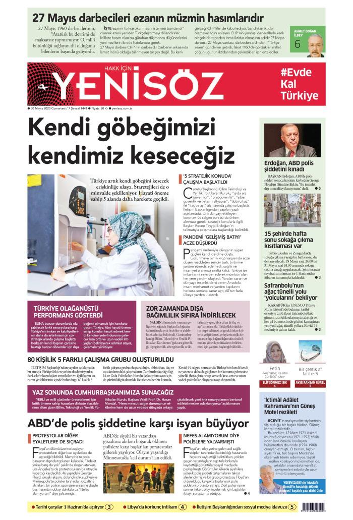 YENİ SÖZ Gazetesi 30 Mayıs 2020, Cumartesi Günü Manşeti